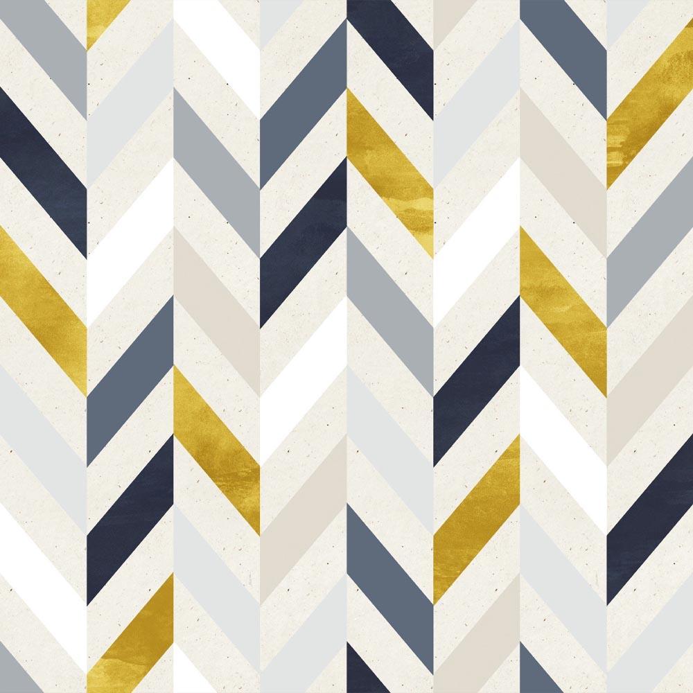 Papel de Parede Geométrico Azul e Dourado