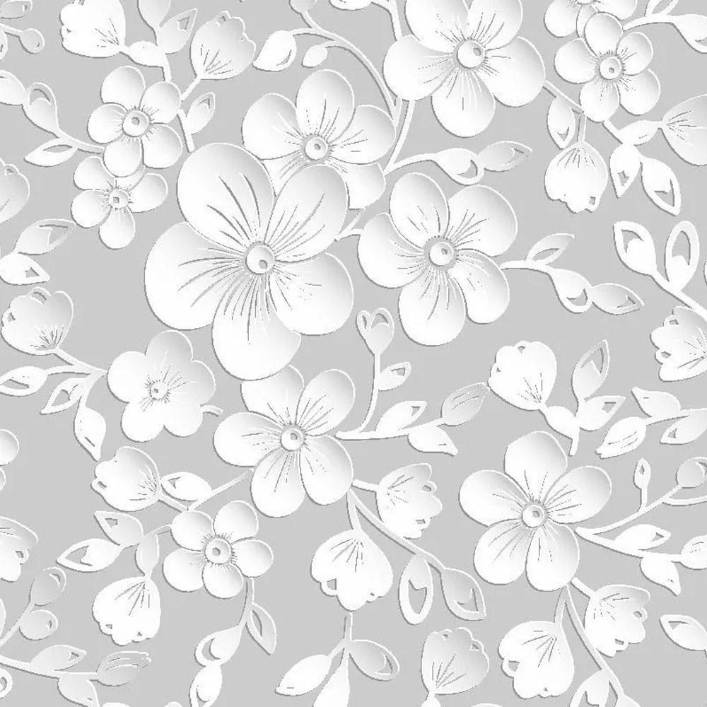 Papel parede floral 3d rolo Cinza