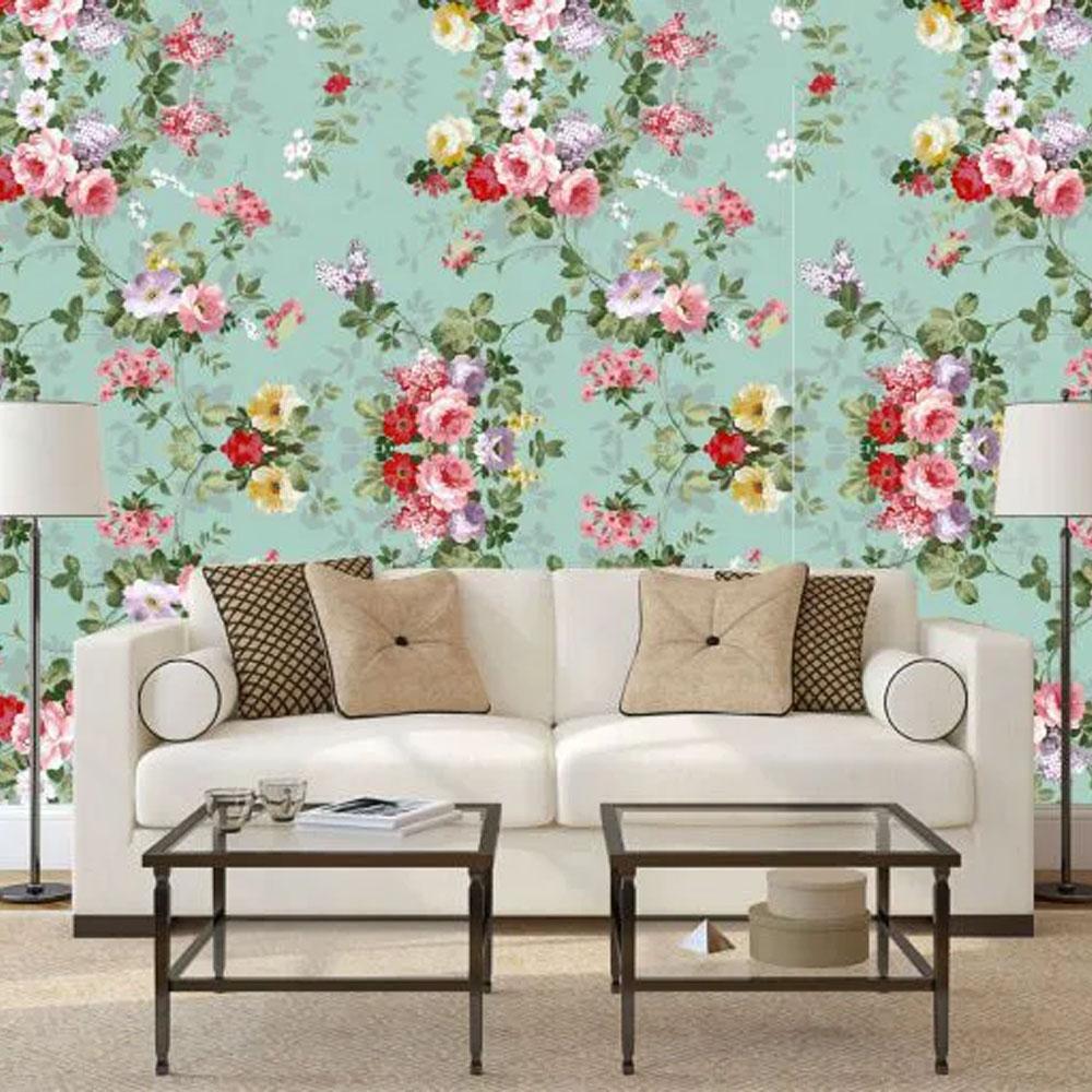 papel parede floral  rosas com fundo turquesa 3,00 x60