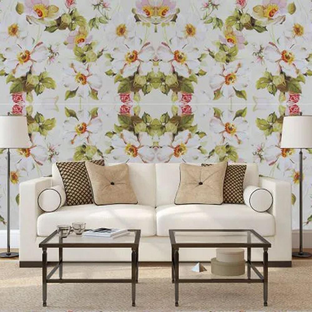 papel parede flores brancas 3,00 x0,60