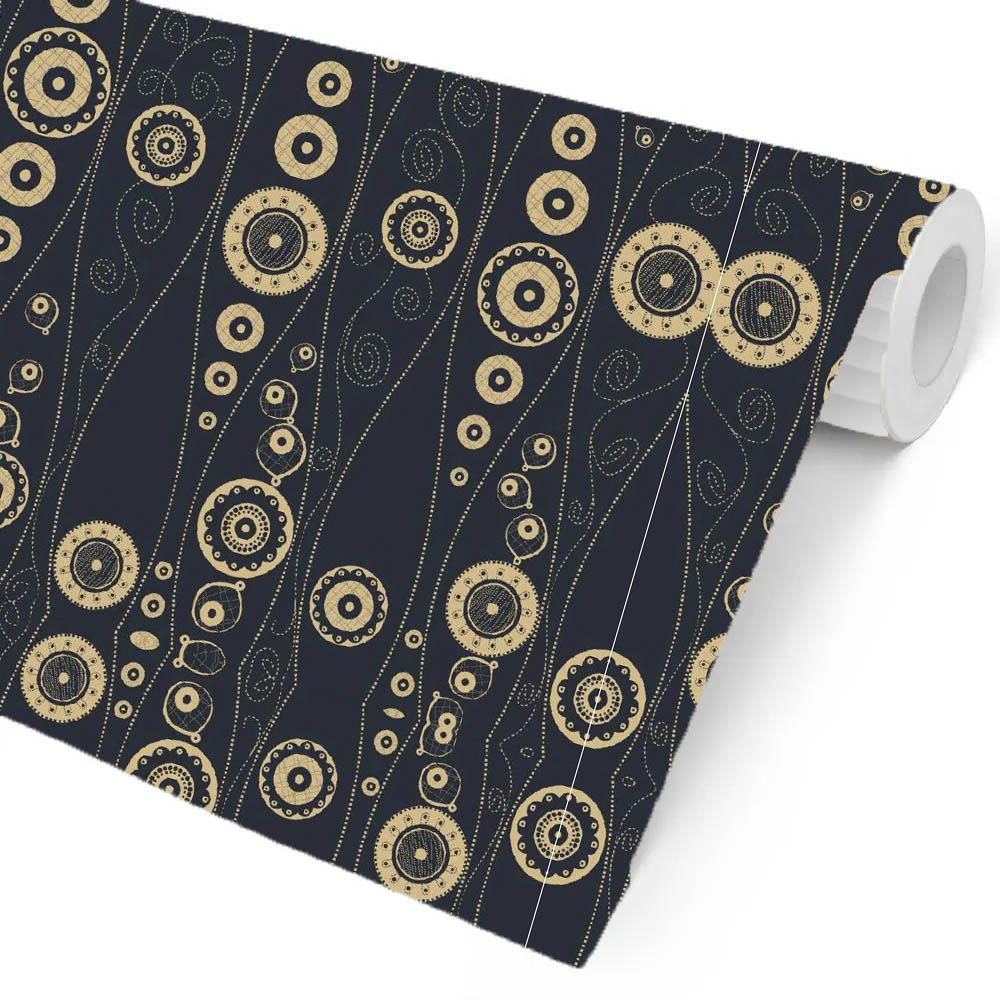 Papel Parede Preto com círculos dourado