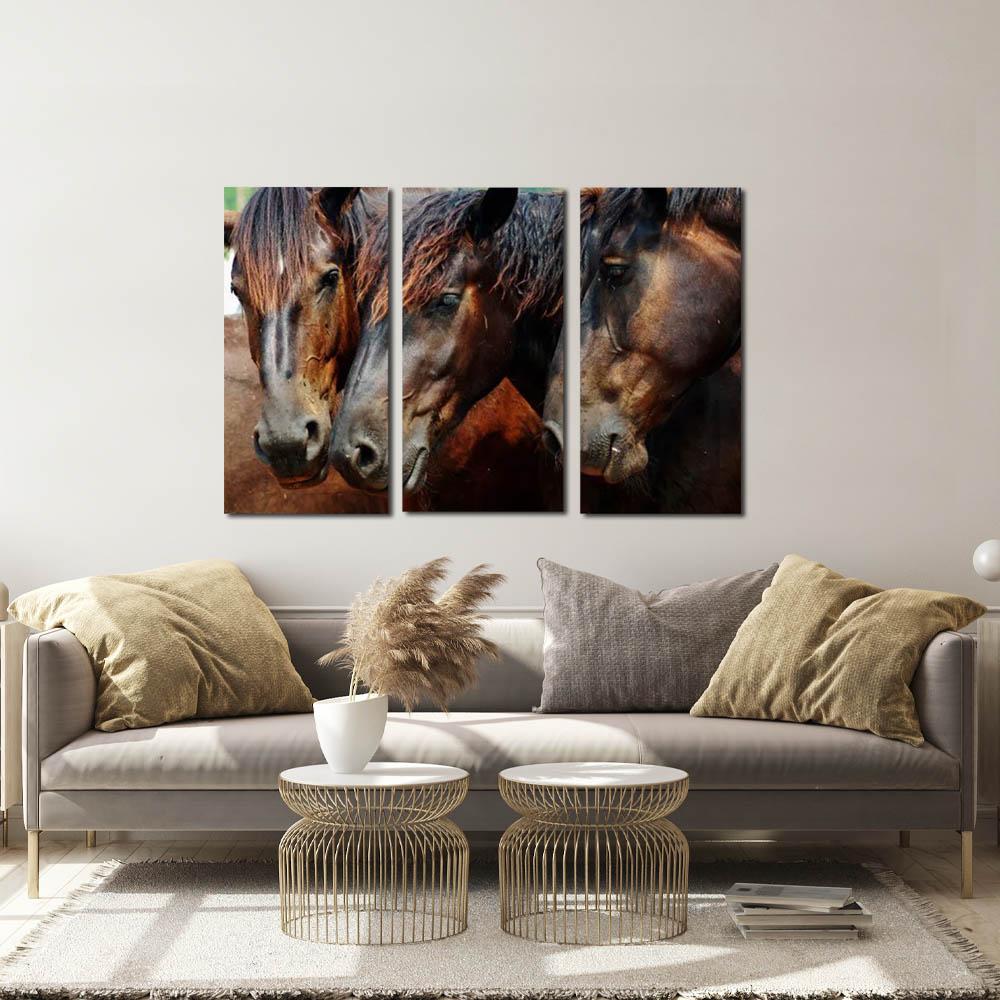 quadro 3 cavalos    kit 3 peças