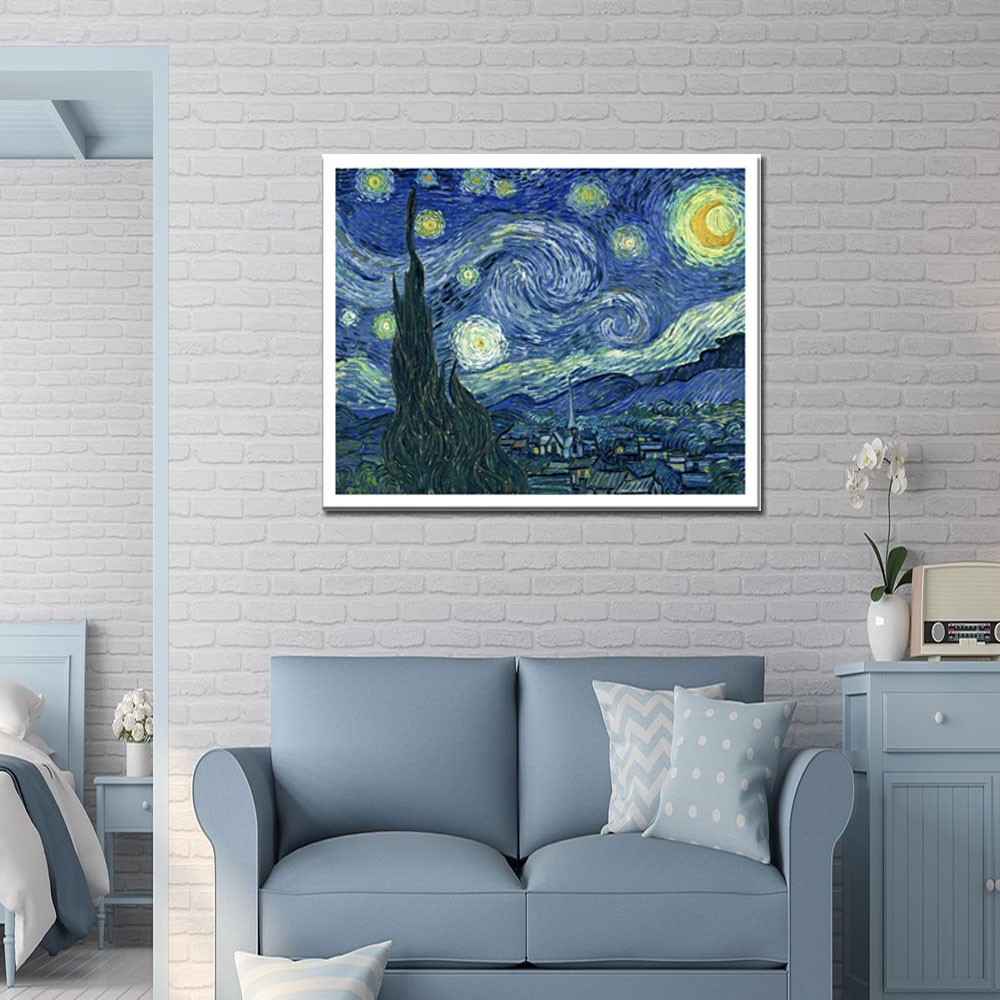 Quadro A Noite Estrelada Van Gogh  Em Canvas Borda Branca