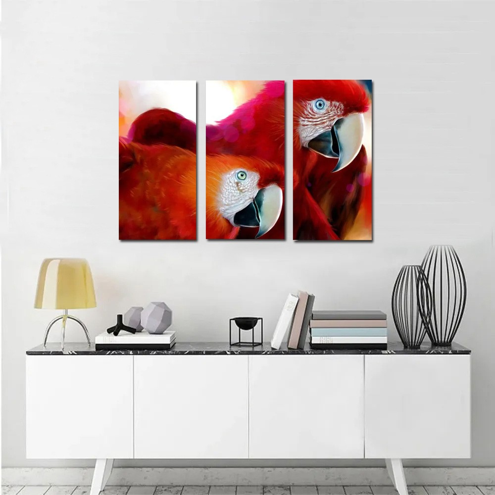 quadro arara casal decorativo  kit 3 peças