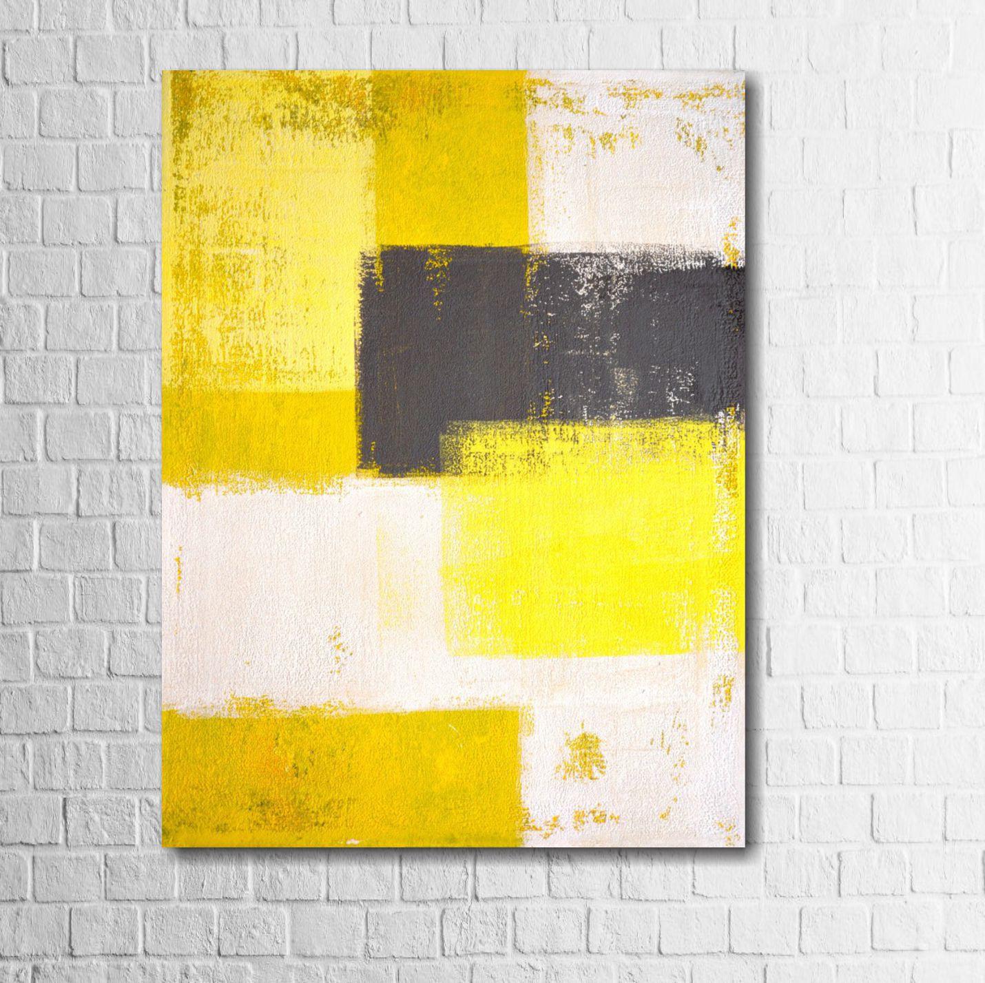Quadro Decorativo Abstrato Amarelo 1 peça