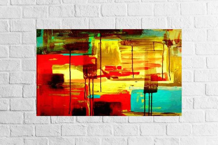 Quadro Decorativo Abstrato Colorido Amarelo 1 peça