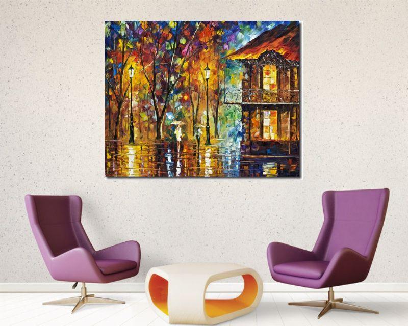 Quadro Decorativo Abstrato Espatulado Casa, Pessoas Na Chuva