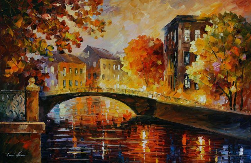 Quadro Decorativo Abstrato Espatulado Casas Sobre A Ponte