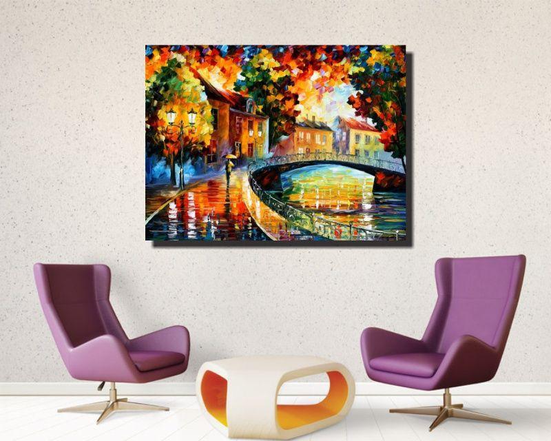 Quadro Decorativo Abstrato Espatulado Homem Na Ponte