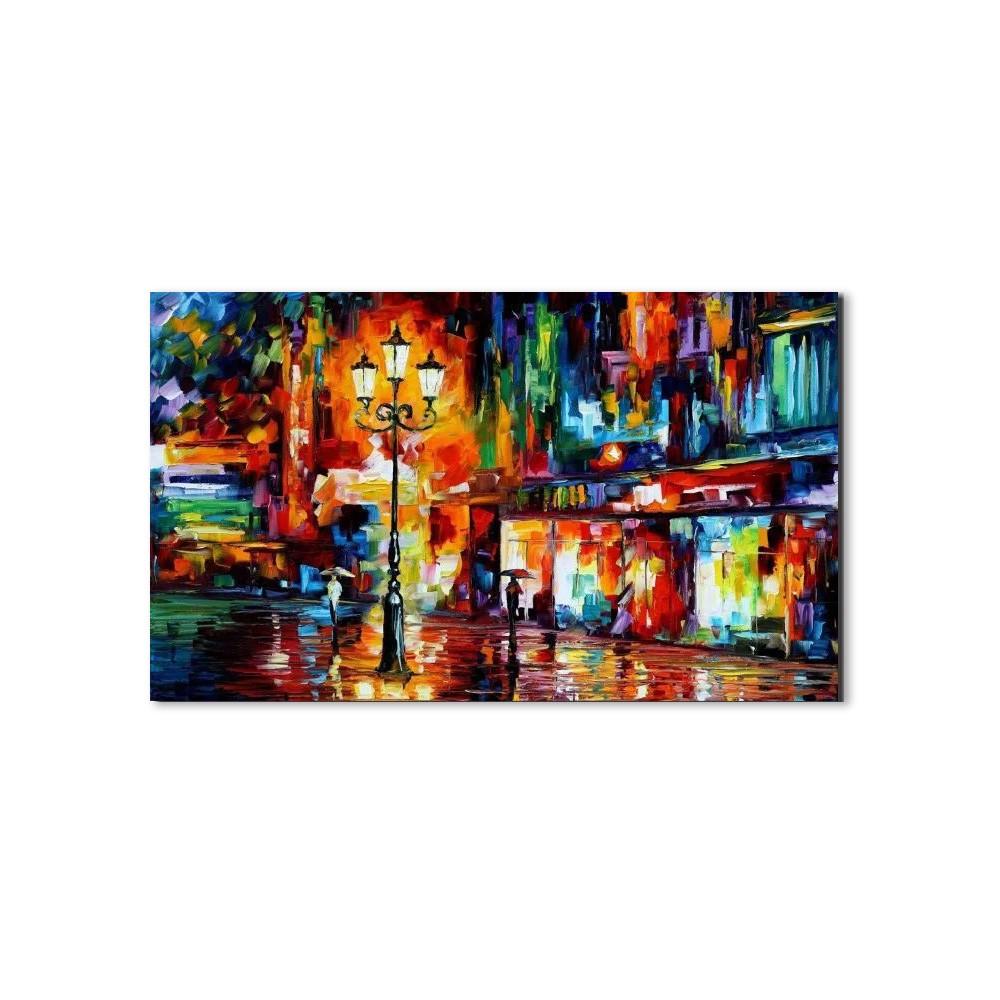 Quadro Decorativo Abstrato Espatulado Pessoas Na Rua
