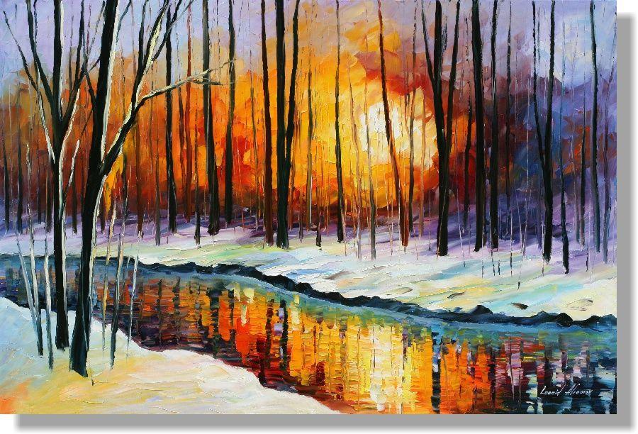 Quadro Decorativo Abstrato Espatulado Riacho Na Neve