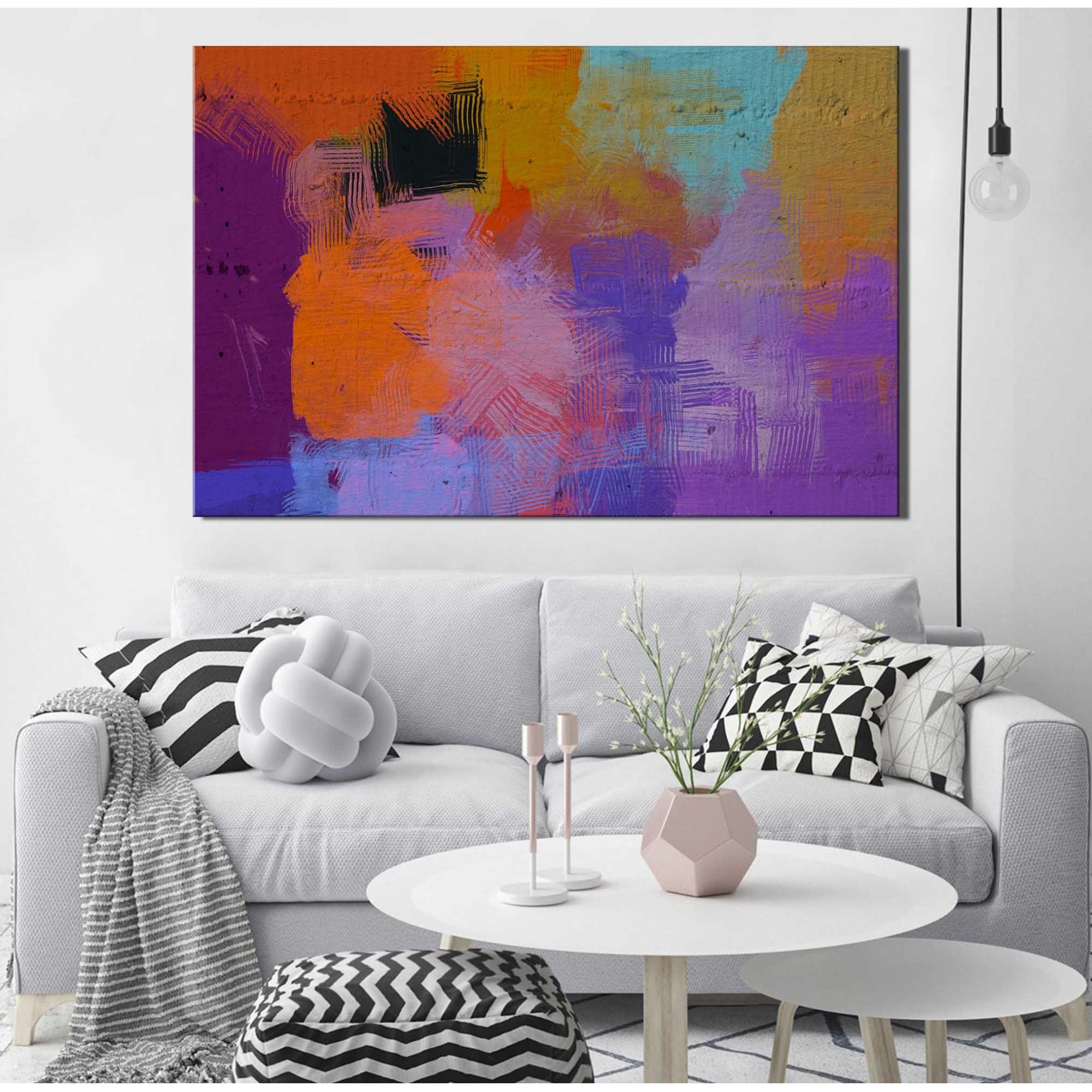 Quadro Decorativo Abstrato Roxo e Laranja 1 peça