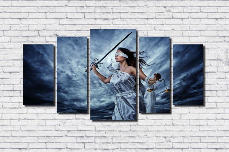 Quadro Decorativo Advocacia Deusa Da Justiça 5 peças