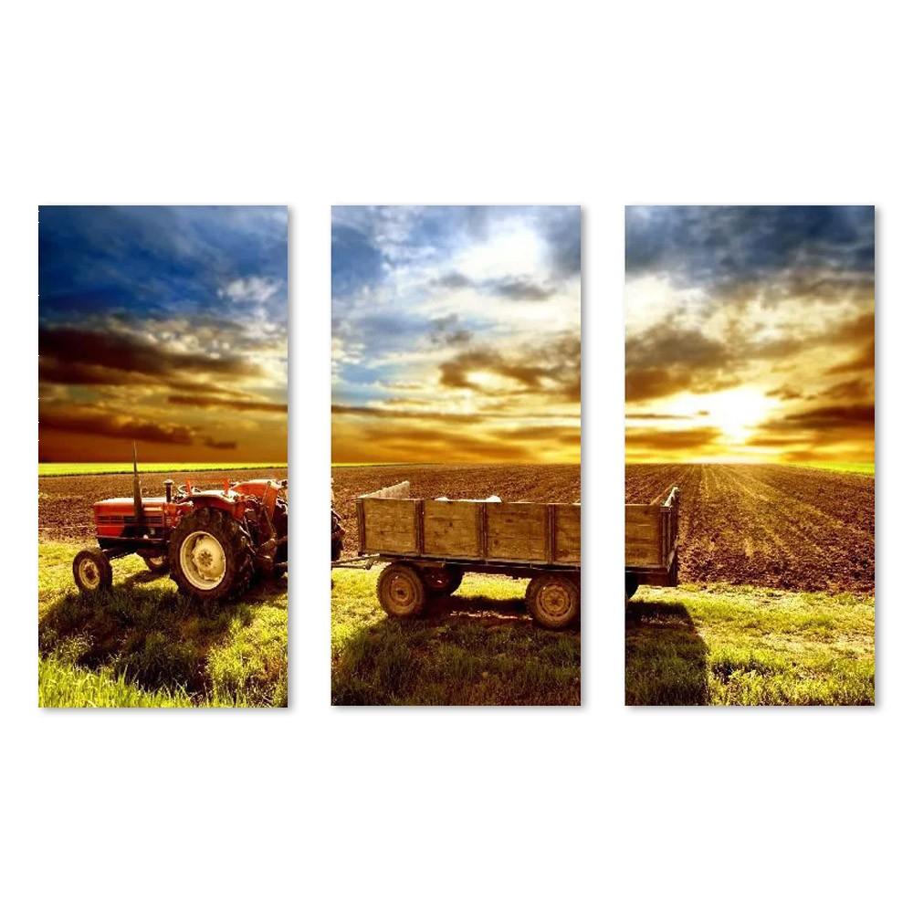Quadro Decorativo Agricultura Trator Final do Dia