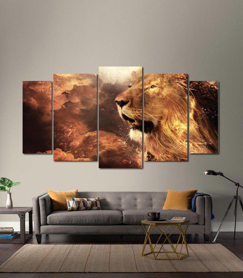Quadro Decorativo Animal Leão Dourado 5 peças