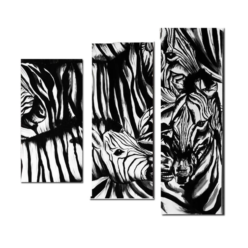 Quadro Decorativo Animal Zebra 3 Peças P Sala de Estar