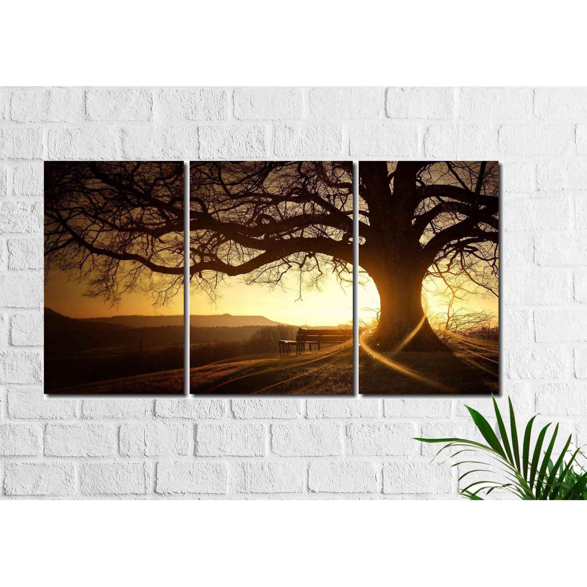 Quadro Decorativo Árvore de Galhos Secos Por Do Sol 3 Peças
