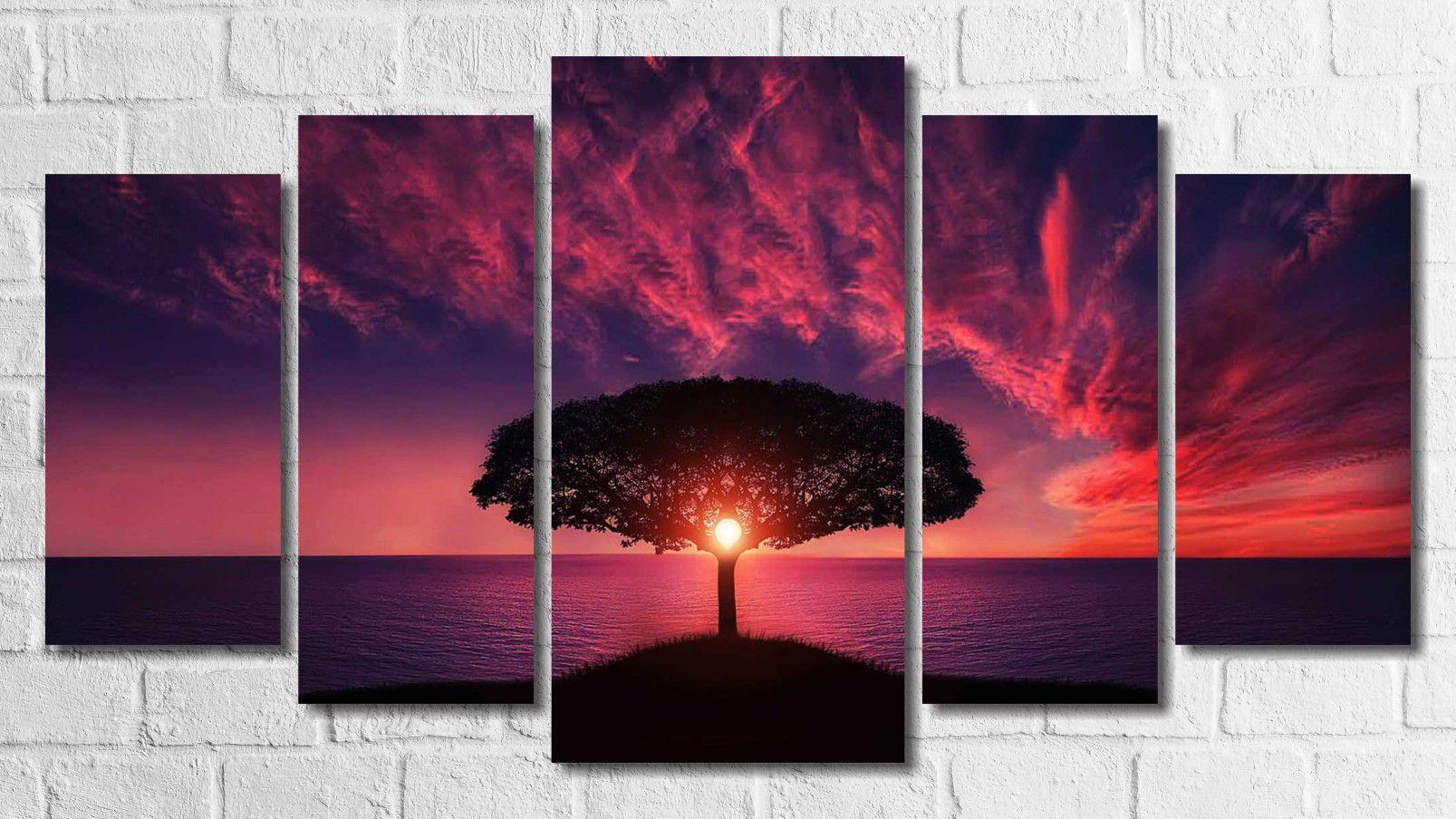 Quadro Decorativo Árvore Por Do Sol Roxo 5 Peças