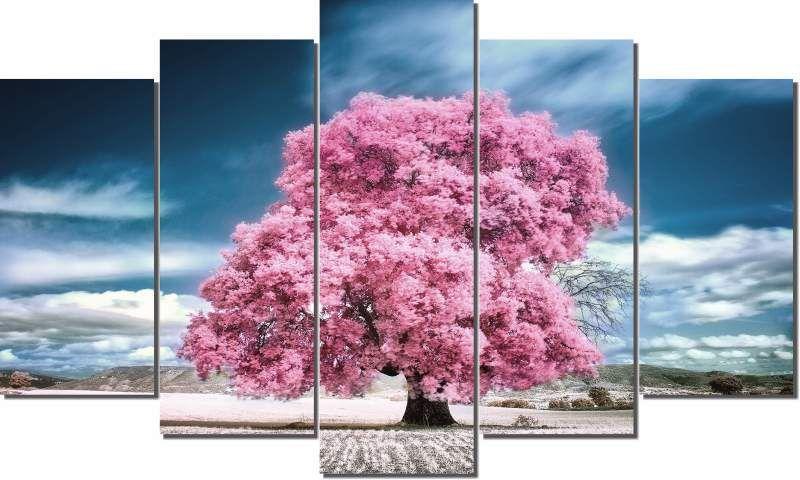Quadro Decorativo Arvore Rosa com ceu azul 5 pecas