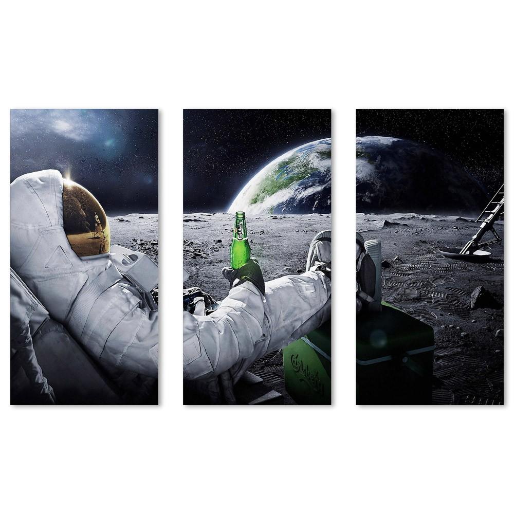 Kit Quadros Decorativos Astronauta com Cerveja