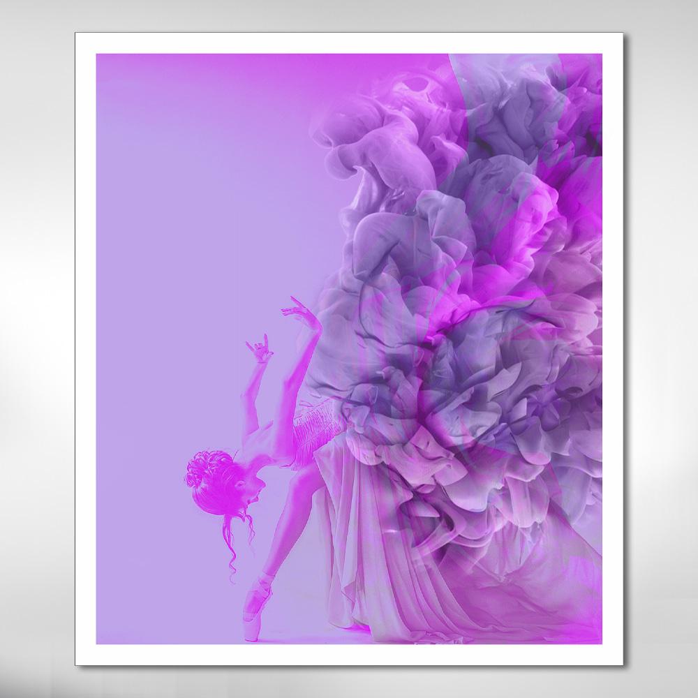 Quadro Decorativo Bailarina Rosa com Fumaça