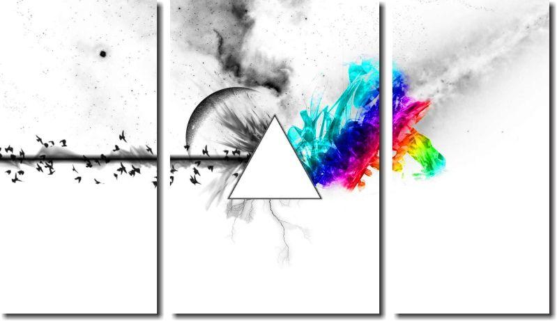 Quadro Decorativo Banda Pink Floyd 3 Peças M2