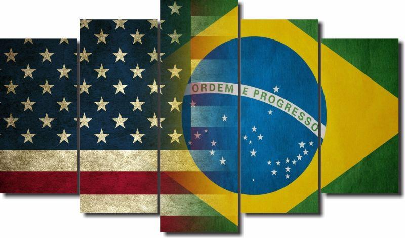 Quadro Decorativo Bandeira EUA e Brasil para Sala 5 peças