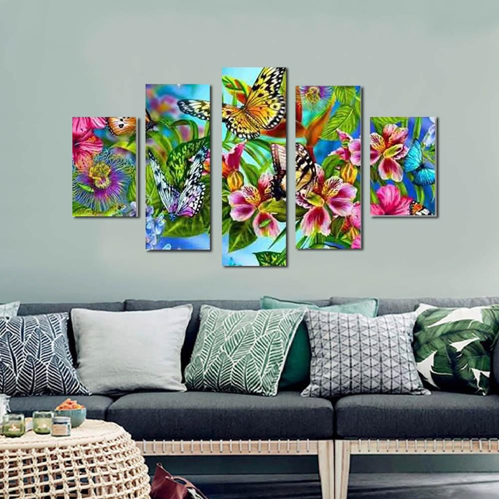 Quadro Decorativo Borboleta Flores 5 Peças Para Sala,quarto
