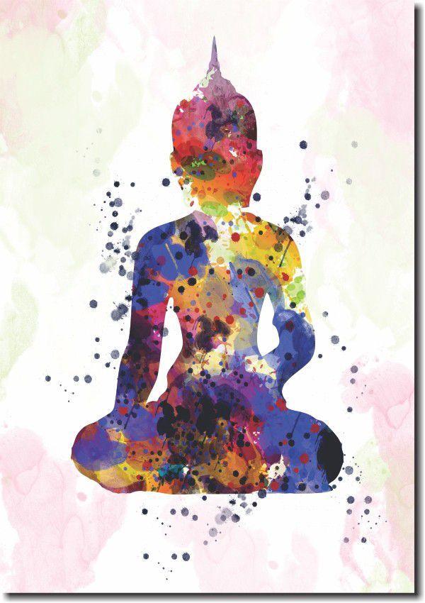 Quadro Decorativo Buda Colorido Para Sala 1 peça