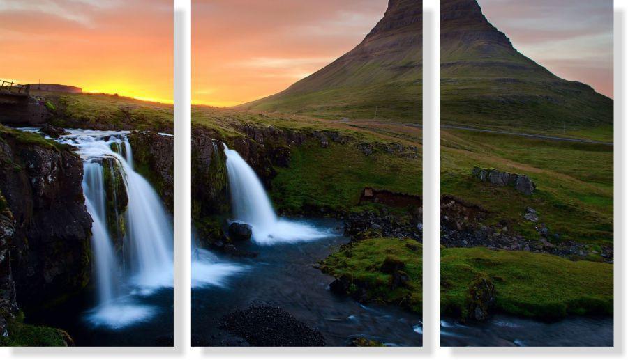 Quadro Decorativo Cachoeira com por do sol 3 peças