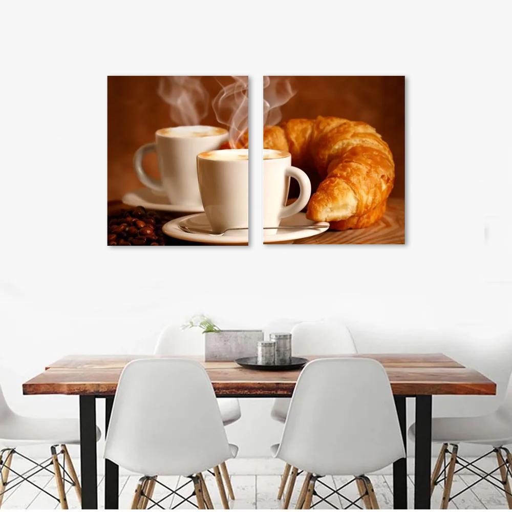 Quadro Decorativo Café Padaria Croissant Para Sala