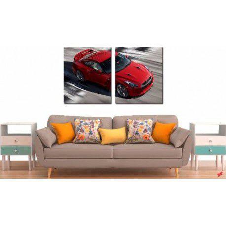 Quadro Decorativo Carro Vermelho 2 Peças
