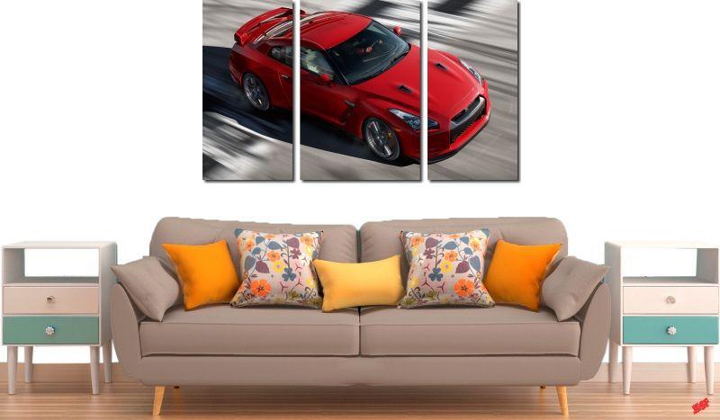 Quadro Decorativo Carro Vermelho 3 Peças
