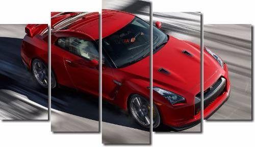 Quadro Decorativo Carro Vermelho 5 Peças