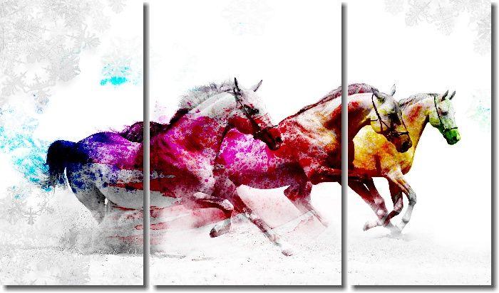 Quadro Decorativo Cavalo branco colorido para sala 3 peças