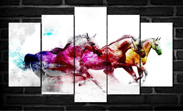 Quadro Decorativo Cavalo branco colorido para sala 5 peças