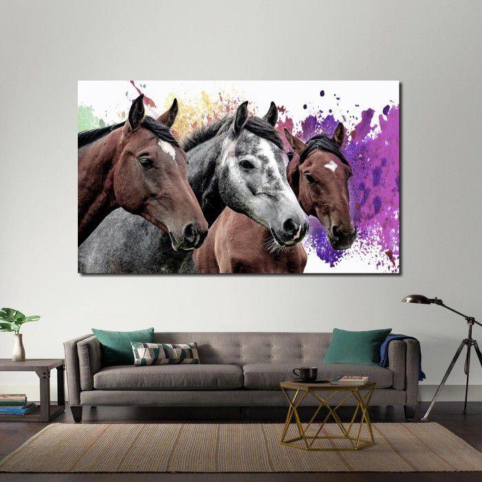 Quadro Decorativo  Cavalos com fundo Colorido Para Sala 1 peça