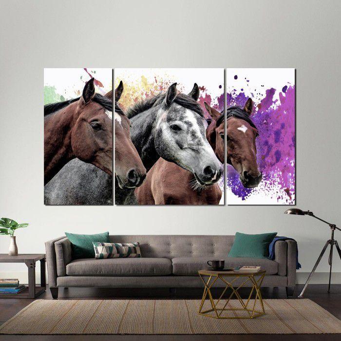 Quadro Decorativo  Cavalos com fundo Colorido Para Sala 3 peças