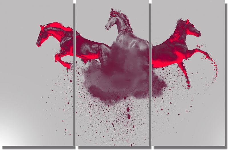 Quadro Decorativo Cavalos para Sala 3 peças