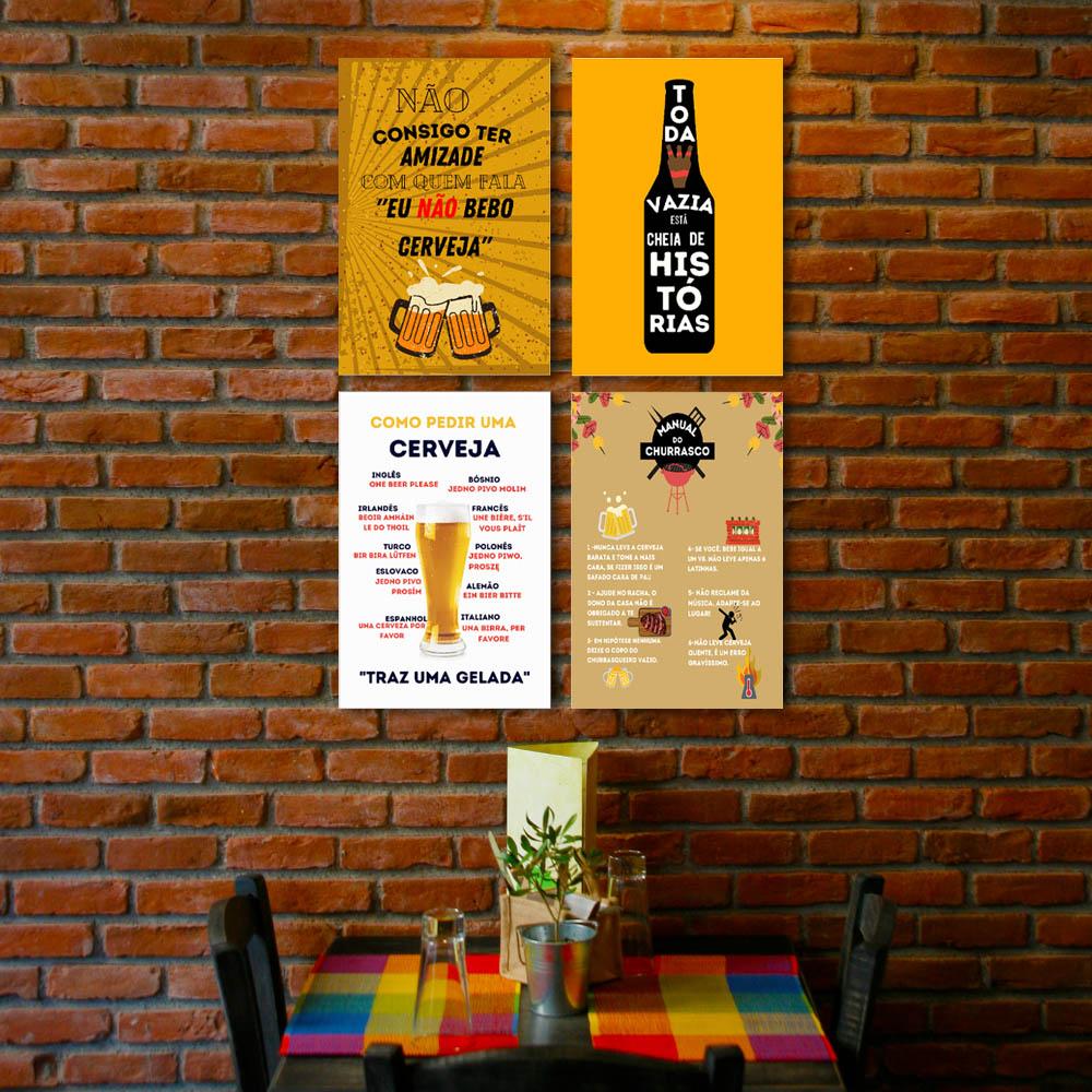 Quadro Decorativo Cerveja e churrasco