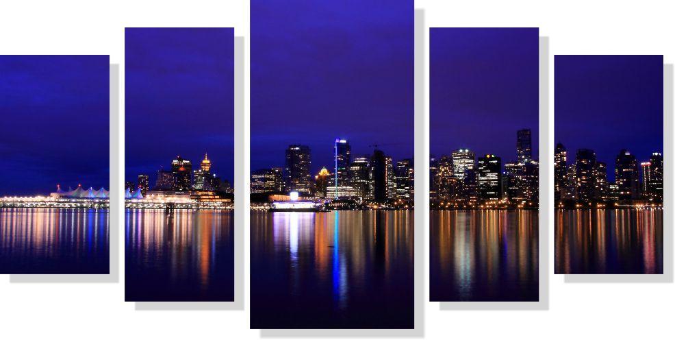 Quadro Decorativo Cidade com Luzes para Sala 5 peças m3