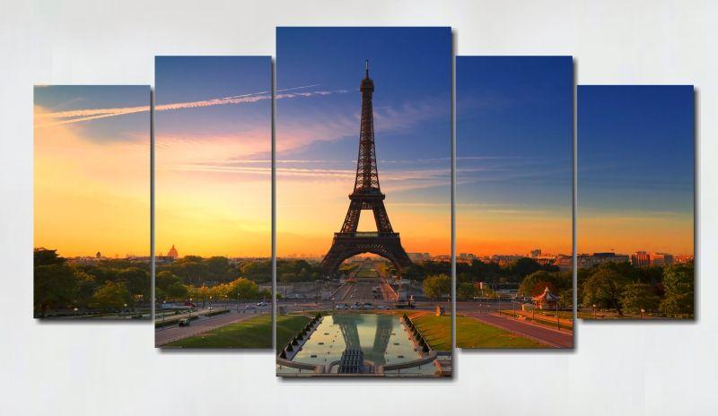 Quadro Decorativo Cidade de Paris para sala 5 peças