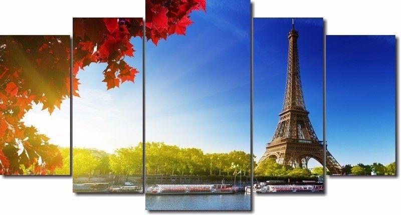 Quadro Decorativo Cidade Paris 5 Peças