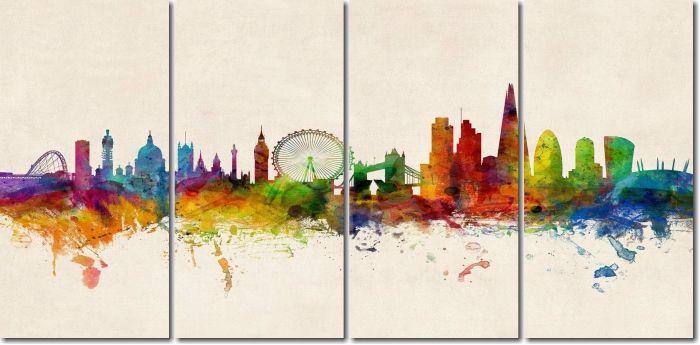 Quadro Decorativo Cidades Coloridas Moderna