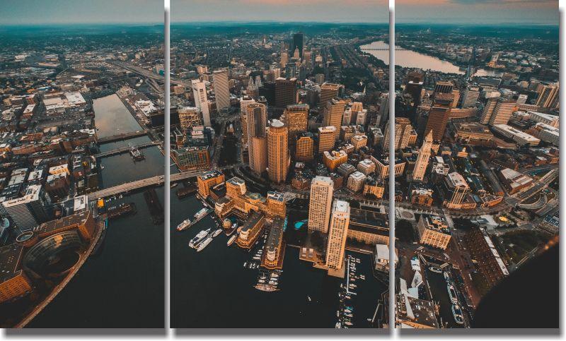Quadro Decorativo Cidades de Luzes 3 peças