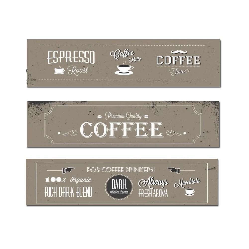Quadro Decorativo Com Frases De Café 3 Peças 80x60