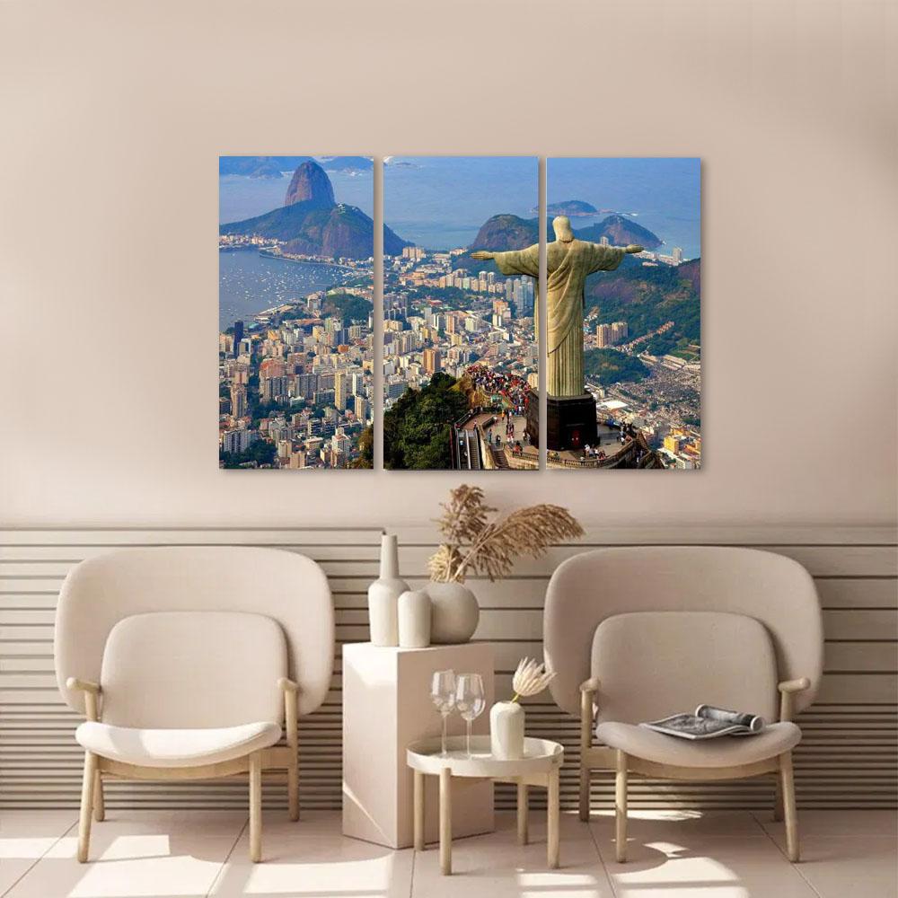 Quadro Decorativo Cristo Redentor Rio de Janeiro 3 peças