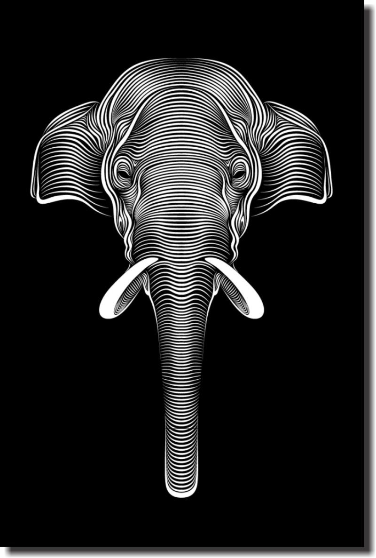 Quadro Decorativo Elefante linhas  1 peça