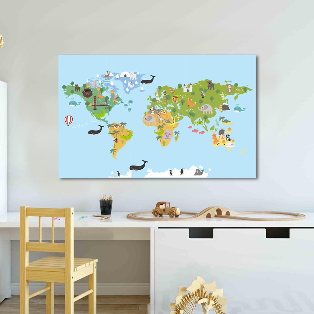 Quadro Decorativo Desenho Infantil Mapa Mund