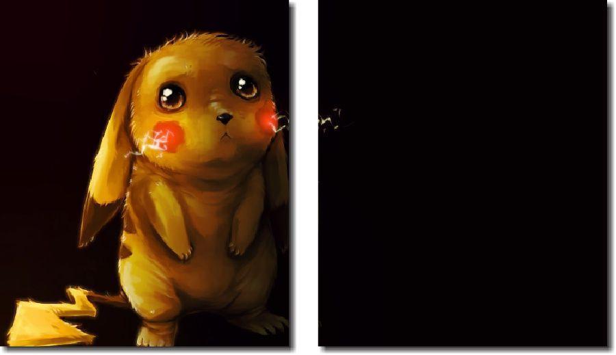 Quadro Decorativo Desenho Pikachu 2 Peças